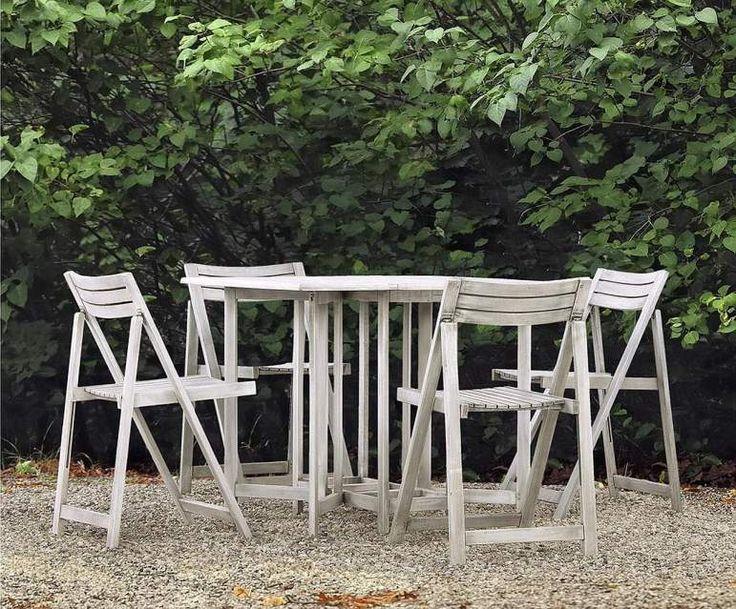 Set da giardino tavolo + 4 sedie in legno shabby MELANIA
