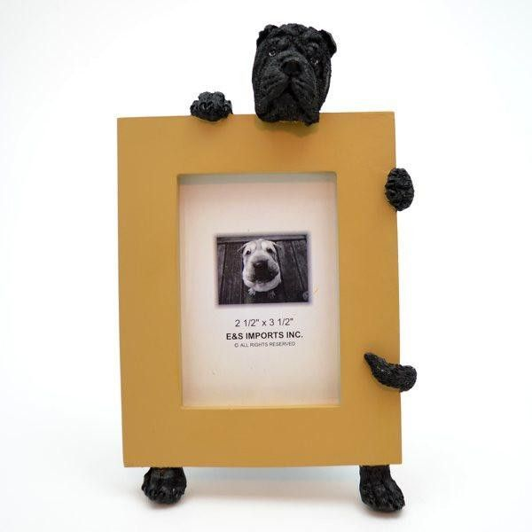 shar pei black dog picture frame holder