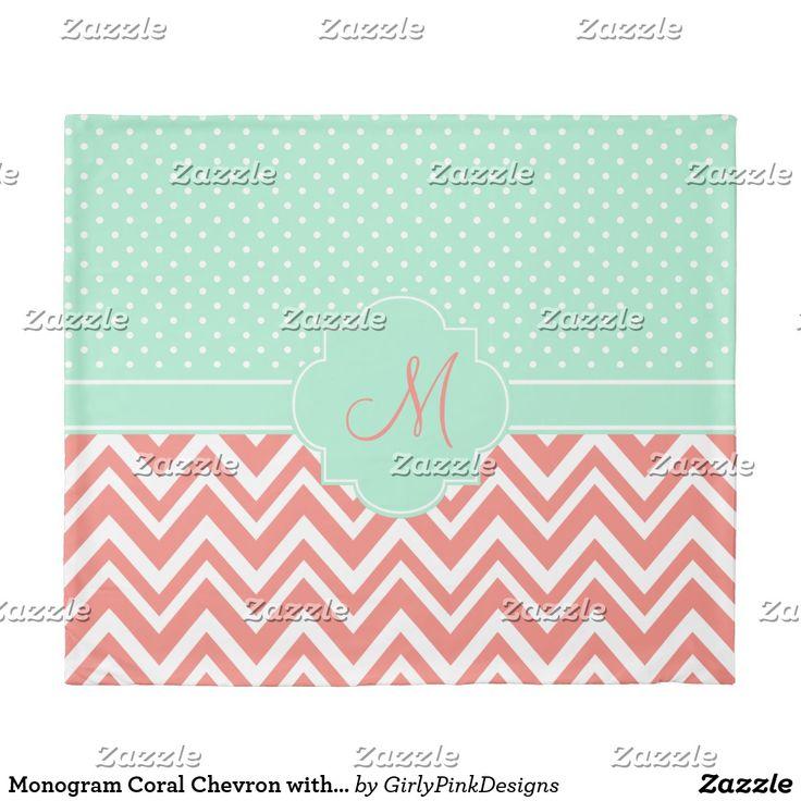 Monogram Coral Chevron with Mint Polka Dot Pattern Duvet Cover