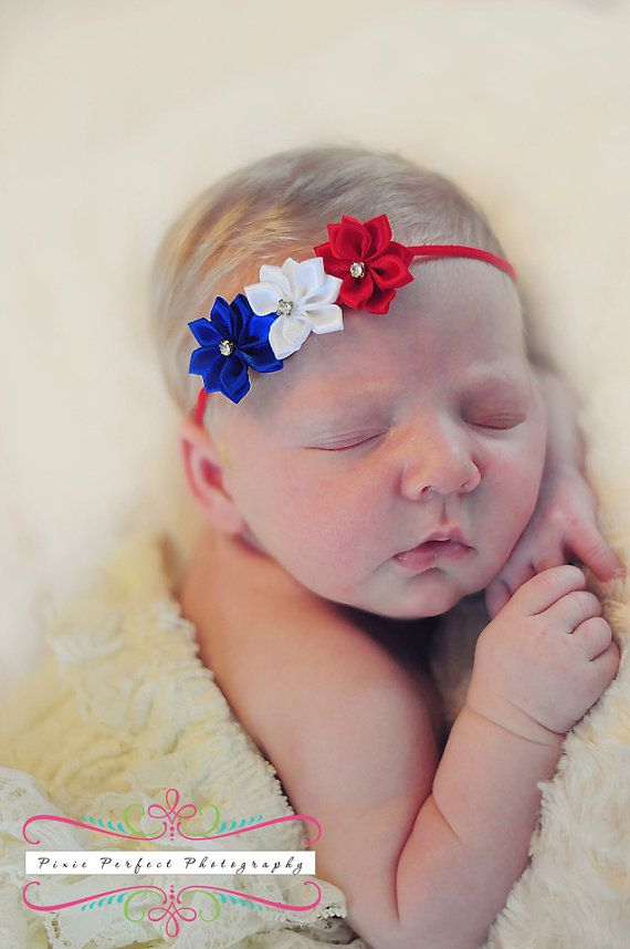 Red White and Blue Satin Starburst Headband by OnceUponATimeTuTus