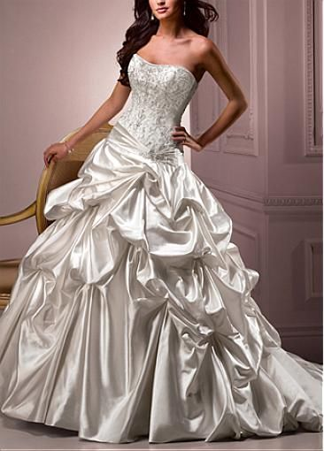 Image of Elegant Exquisite Sain A-line Slightly Sweetheart Neckline Wedding Dress