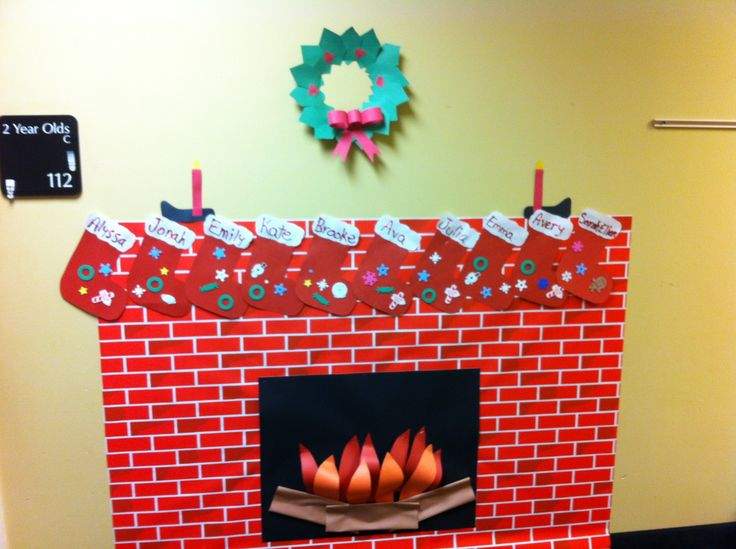 Christmas Fireplace With Stockings For Classroom