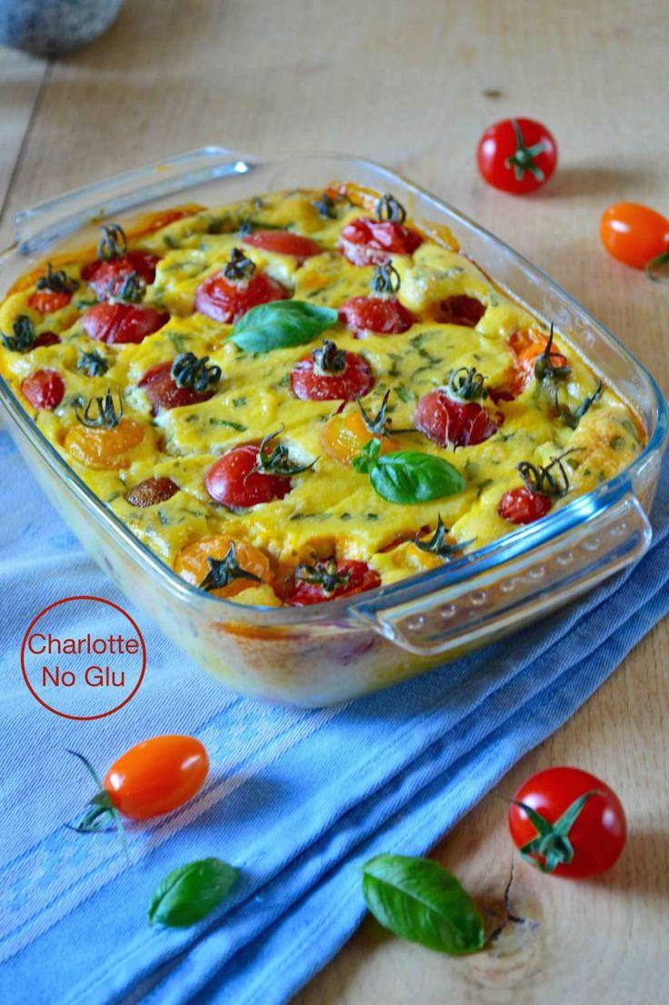 Clafoutis aux tomates cerises et basilic (sans gluten, sans lait) – Cherry tomato and basil clafoutis (gluten and dairy free)