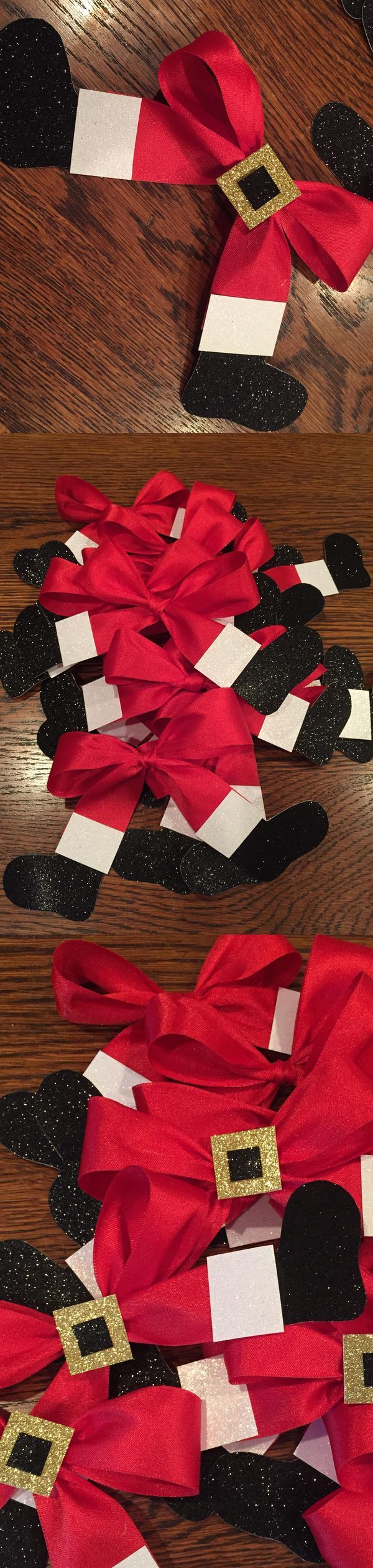 Christmas party buffet table decorations - Santa Bows Love These To Top Presents And For Table Place Cards