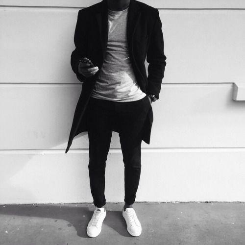 black & white // menswear, mens style, fashion, sneakers, overcoat, topcoat, black, tshirt, street style, #sponsored