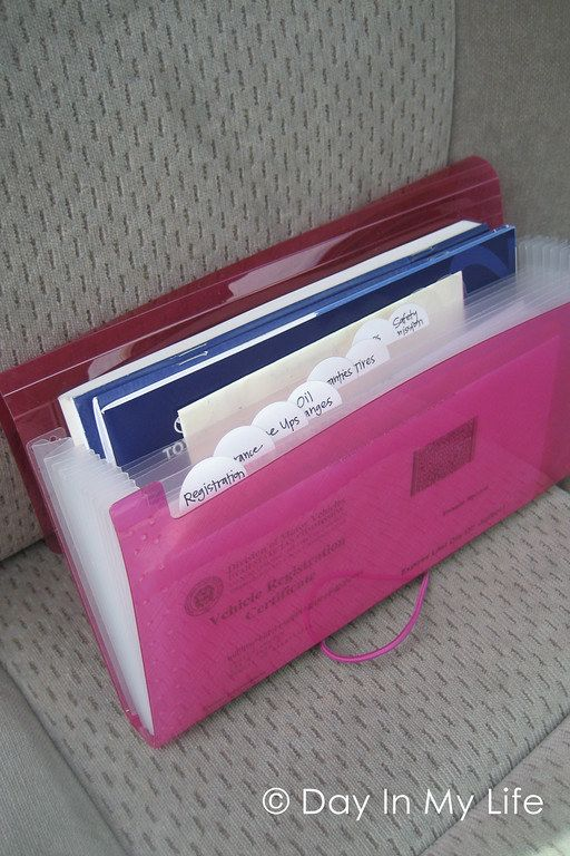 Keep a small accordion folder in your car's glove box to make all of those essential papers easy to find when you need them.