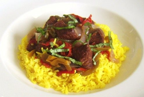 Spicy Ostrich and Peppers Casserole on Turmeric Rice #ostrichrecipe #ostrichcasserole #turmericrice