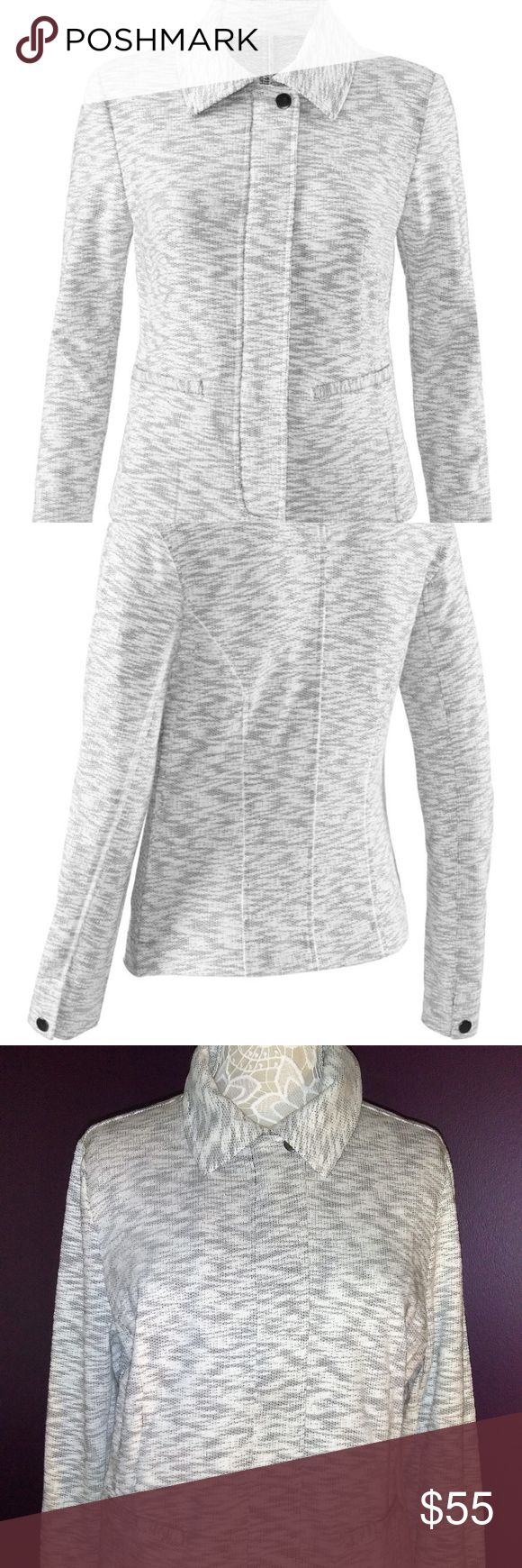 Darling cabi Spring 2016 Neo Jacket #5102 NWT  L Amazing style with this brand new (with tag attached) cabi Spring 2016 Neo Jacket # 5102 ♥ Classic must have jacket with zip front -2 pockets at waist and snap button at neck and cuffs. Dress up for a night on the town or dress down with jeans or shorts. Super cozy!   Fabric: 71%  Polyester / 29% cotton  Garment Care: Wash by hand - cold water - lay flat to dry   ♥ Please visit my closet again soon - lots of excellent deals on minty condition…