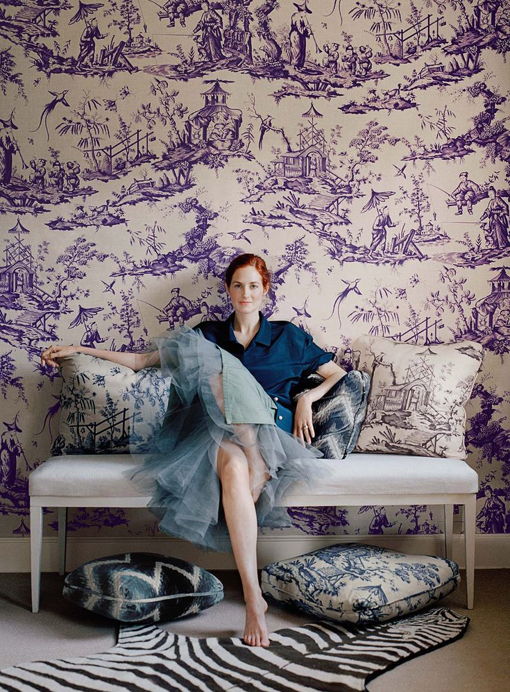 Taylor Tomasi Hill | Schumacher 125th Anniversary Collection | Shengyou Toile and Shock Wave | Photography: Francois Halard. Available at Designerfabricsusa.com