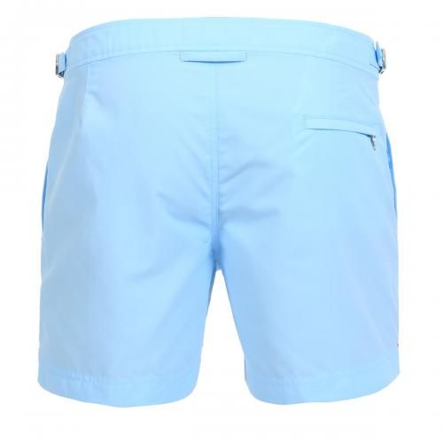NYLON BOARDSHORTS WITH ADJUSTABLE SIDE TABS - Setter nylon Boardshorts with two front pockets and a zippered back pocket, adjustable side tabs with metal buckle, internal mesh, zip and button fly.  #mrbeachwear #beachwear #swimshort #summer #beach #mens #fashion #orlebarbrown #lightblue