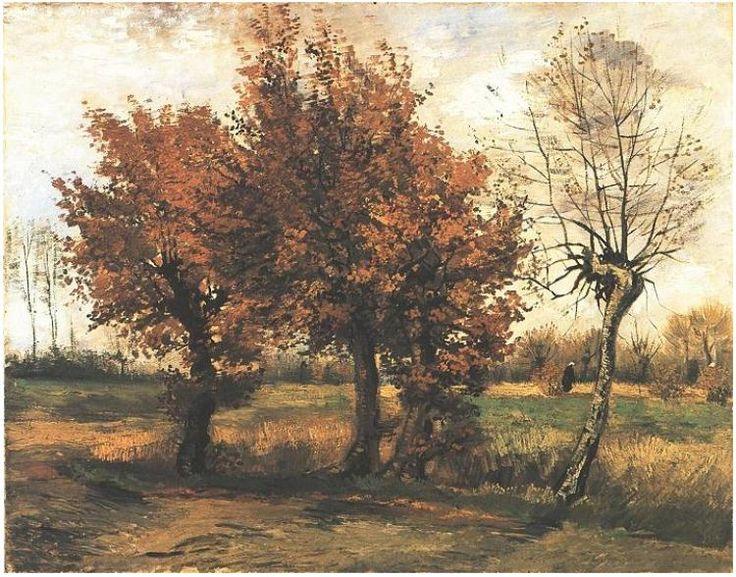 Autumn Landscape with Four Trees - Vincent van Gogh. Painting, Oil on Canvas. 1885.