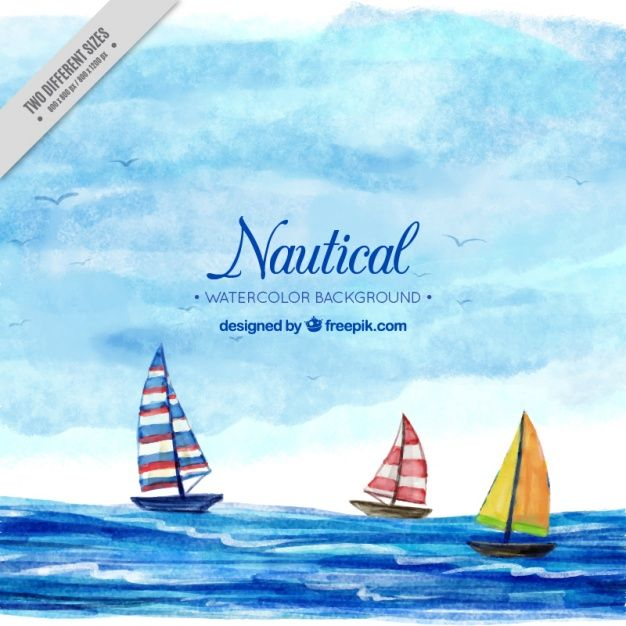 Nautical background with boats, watercolors Free Vector