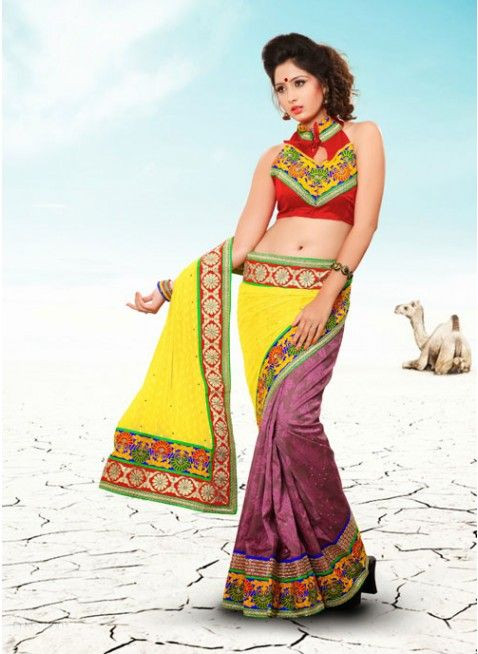 Alluring Brown & Yellow Embroidered #Saree