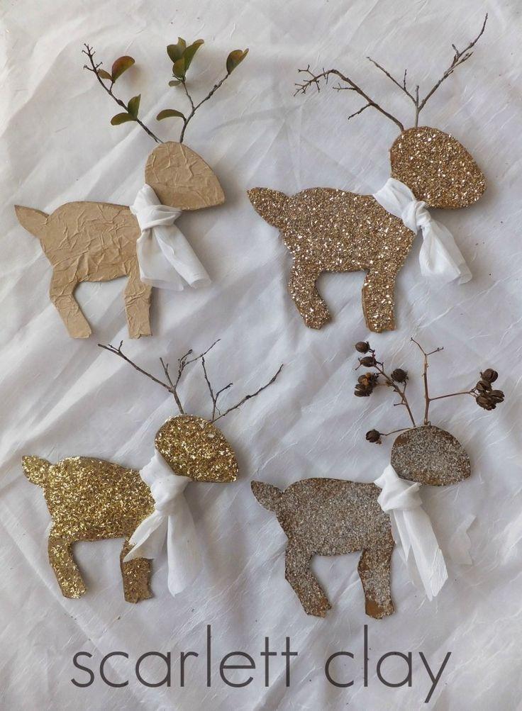 easy cardboard reindeer with pattern
