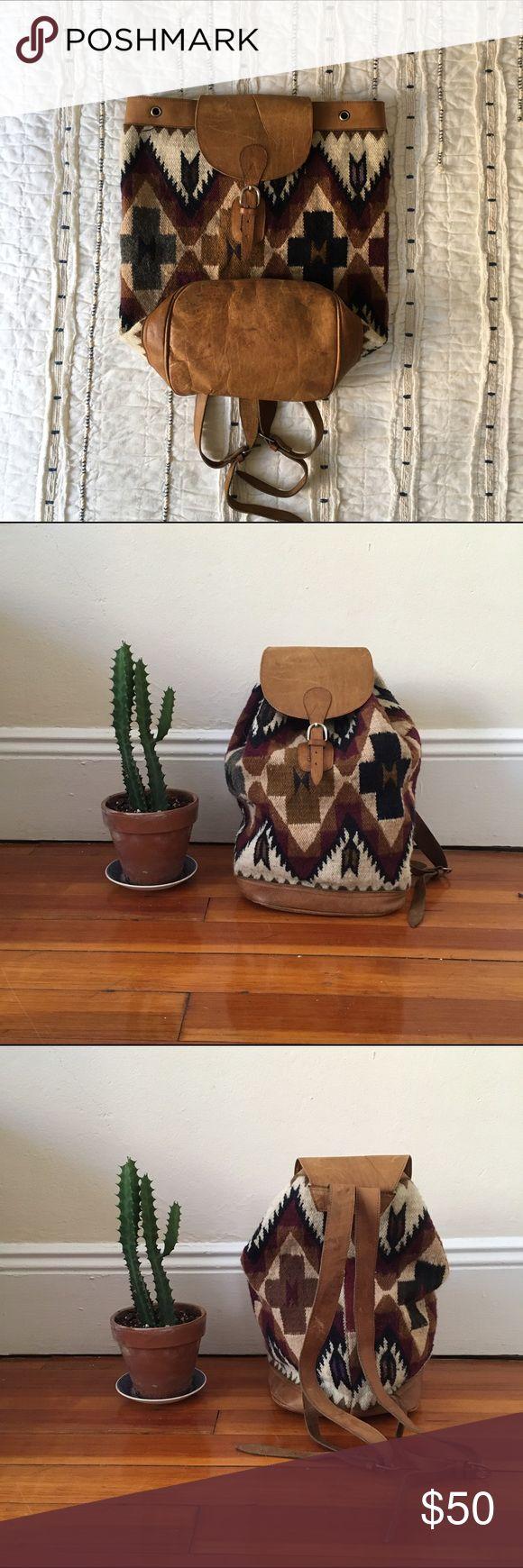 Vintage Southwestern Tapestry Bucket Bag Leather trim/ southwestern carpet pattern Bags Backpacks