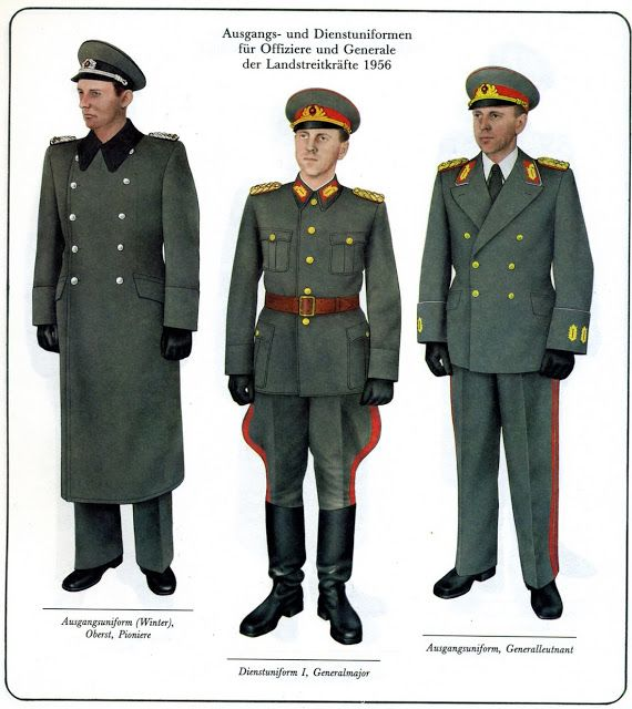 Service uniforms of East German Army officers and generals.