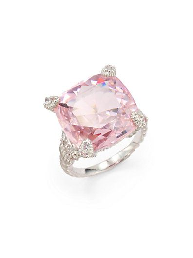Judith Ripka - Pink Crystal, White Sapphire & Sterling Silver Twisted Ring - Saks.com