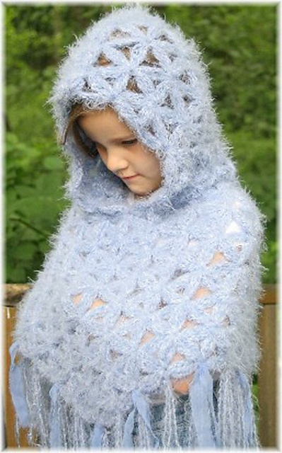 Mens Hooded Poncho Knitting Pattern : Ravelry: Childrens 4-10 Hooded Flower of Life Poncho ...