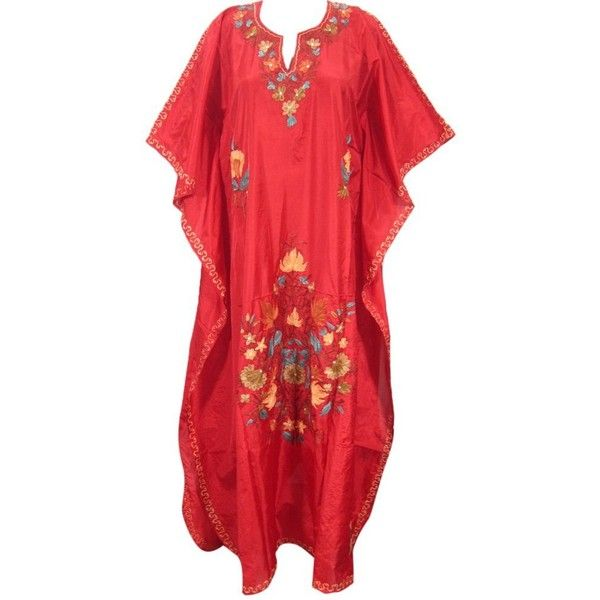 Amazon.com: Boho Caftans Kashmiri Embroidered Red Silk Kaftan Designer... (3,895 INR) via Polyvore featuring tops, tunics, bohemian tops, silk kaftan, long tops, boho tunic and red tunic