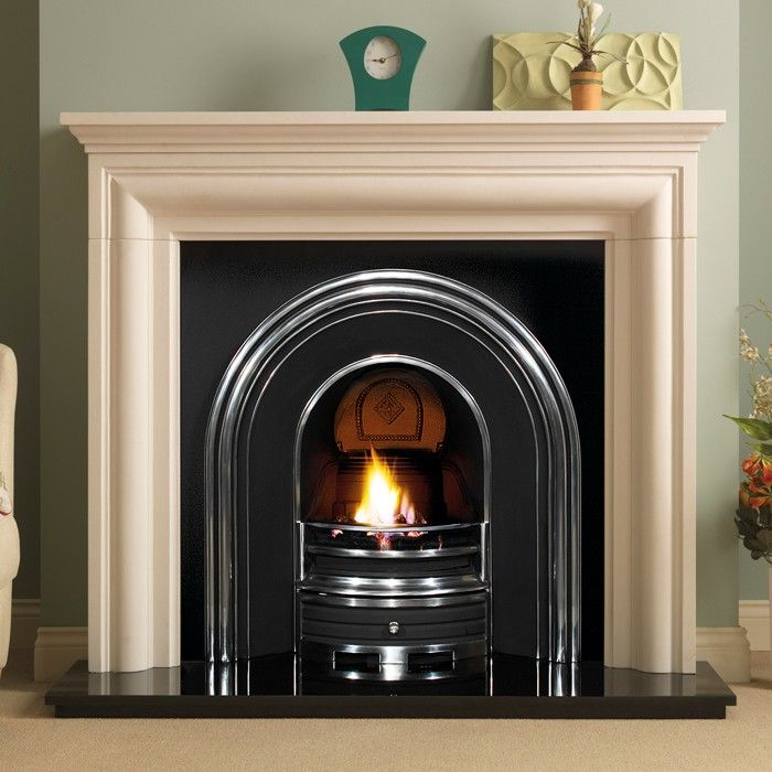 PureGlow Wenlock Agean Limestone Surround with Jubilee Cast Iron Arch - Marble Fireplaces - Fireplace Packages - Fireplaces Are Us