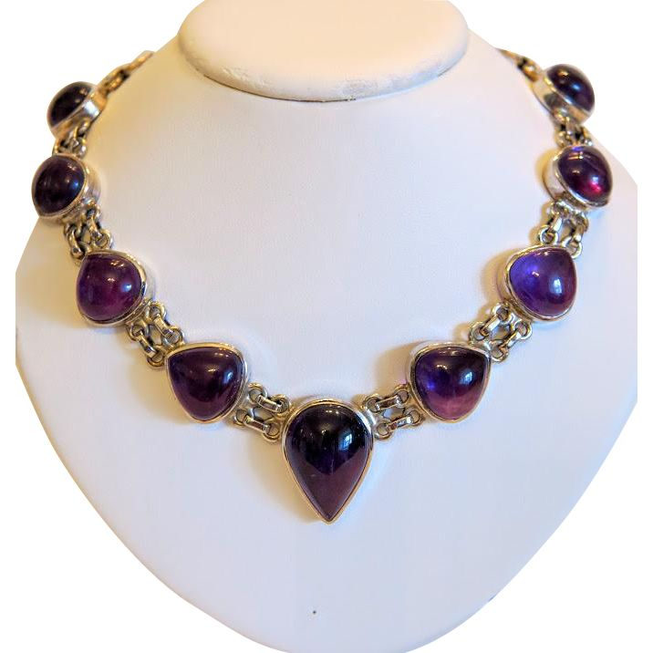 Vintage Amethyst cabochon necklace, silver 925, ca. 1950 from akaham on Ruby Lane