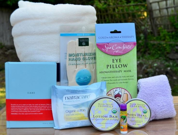 Best Get Well Gift for women.  Blanket, eye pillow, healing lotions, spa socks.  WOW! Why would anyone send flowers when you could send this...
