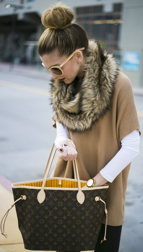 Michael Kors Beige Poncho Sweater, LV bag, and faux fur.