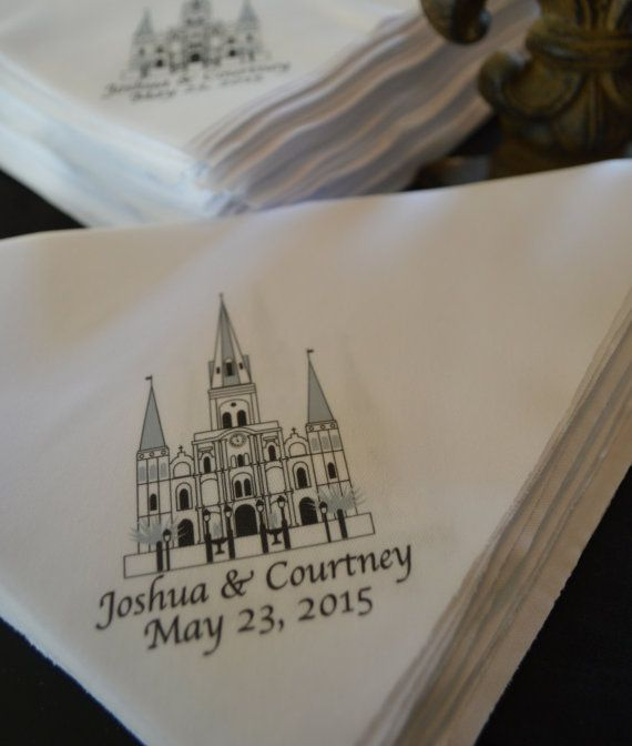 Only 1 00 Apiece New And Unique Second Line Handkerchiefs St Louis Cathedral Personalized With Your Names Wedding Da Favors Gifts In