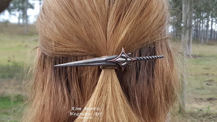 Aussie Metal Clay by Kim Booklass  hand sculpted hair pin wearable art