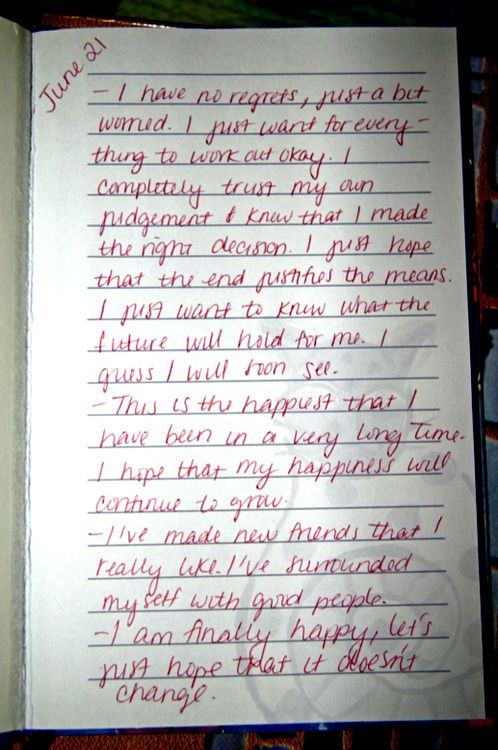 Casey Anthony diary page dated June 21st, less than a week after her daughter Caylee was reported missing.