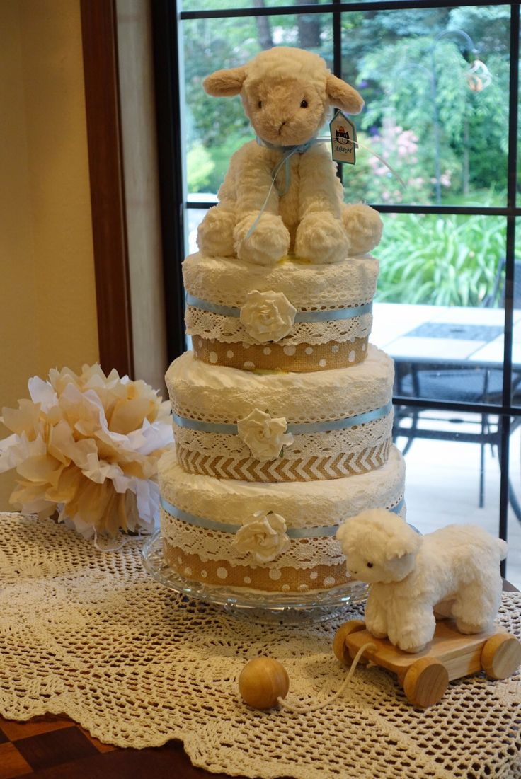 Diaper Cake for neutral Lamb Baby Shower.