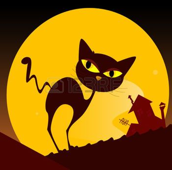 kitty%3A+Black+cat+silhouette+and+city+sunset.+Spooky+cat+silhouette%2C+old+house+mansion+and+yellow+sunset+in+background.+%D0%98%D0%BB%D0%BB%D1%8E%D1%81%D1%82%D1%80%D0%B0%D1%86%D0%B8%D1%8F