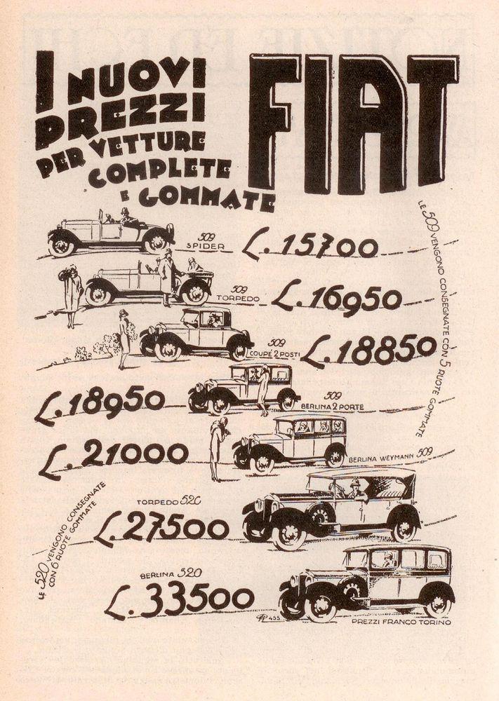 Pubblicità Advertising Werbung Publicité FIAT I nuovi prezzi 1928 Old Price