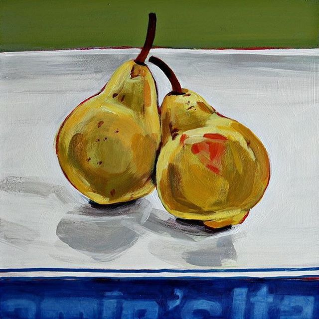 'Perfect Pair' Latest in Blue Stripe series inspired by Jamie Oliver! #olivestack #olivestackgallery #stilllife #painting #lovefood #jamieoliver #jamiesitalian #london #perfectpair #pears