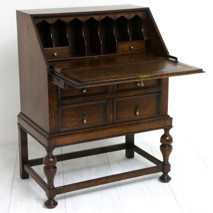 Jacobean Oak Antique Bureau. JacobeanDesksConvenient