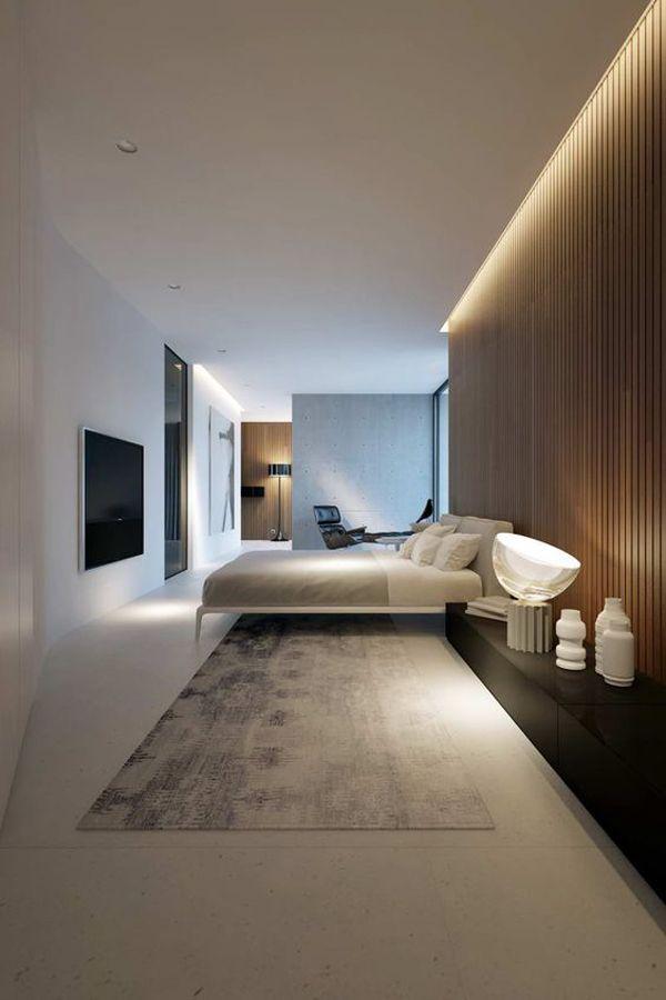20 Modernes und kreatives Schlafzimmerdesign mit Holzwand
