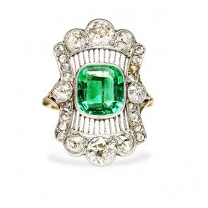 Edwardian Emerald Cocktail Engagement Navette Ring