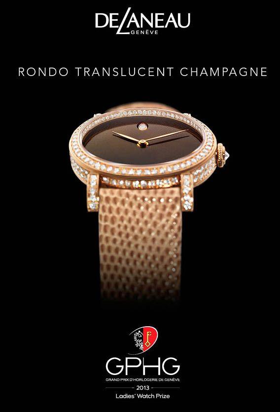 La Cote des Montres : La montre Delaneau Rondo Translucide Champagne - Prix de la Montre Dame au XIIIe Grand Prix d'Horlogerie de Genève 201...