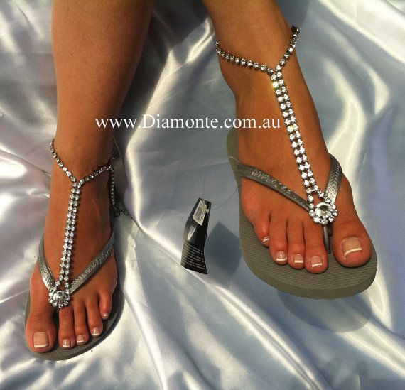 Flip Flop Bling - Slim Silver Metalic Havaianas Featuring Clear by MYDIAMONTE, $100.00