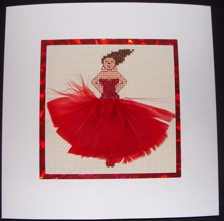 Completed Cross Stitch Extra Large Card - Beautiful Dancer In Red | eBay