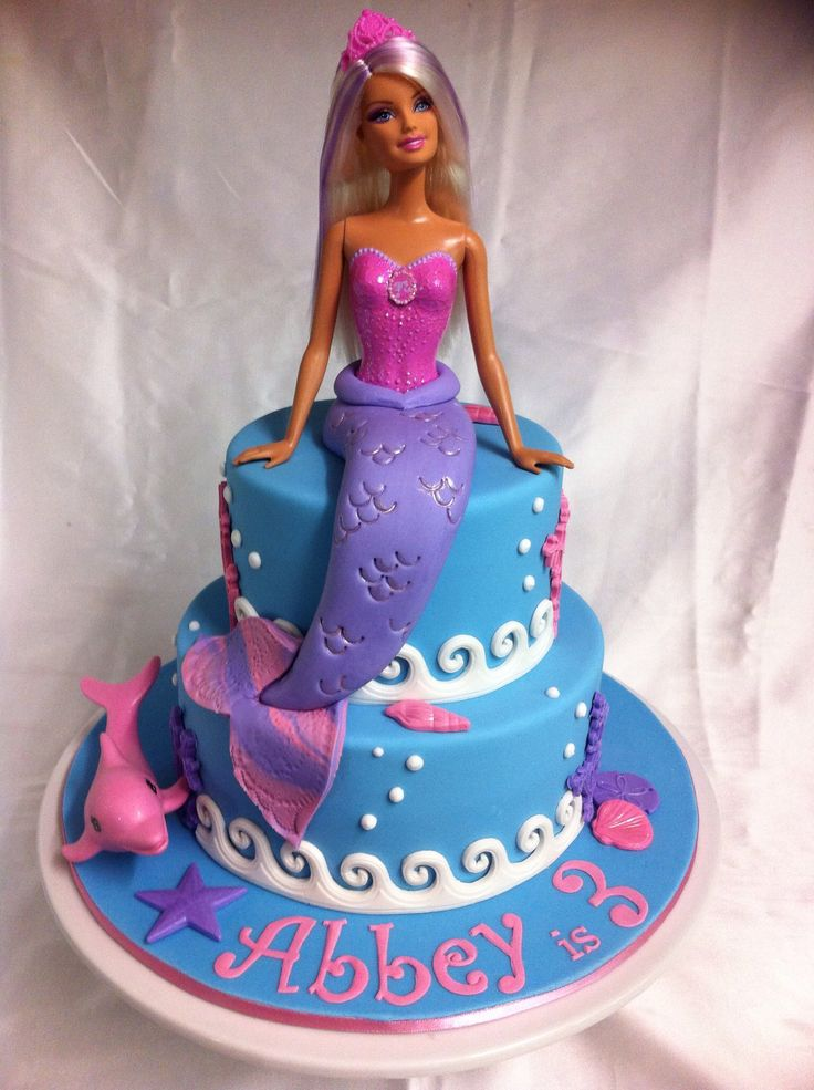 Children's Birthday Cakes - Barbie mermaid cake. Vanilla cakes with BC filling and covered in marshmallow fondant. Request was for pink and purples