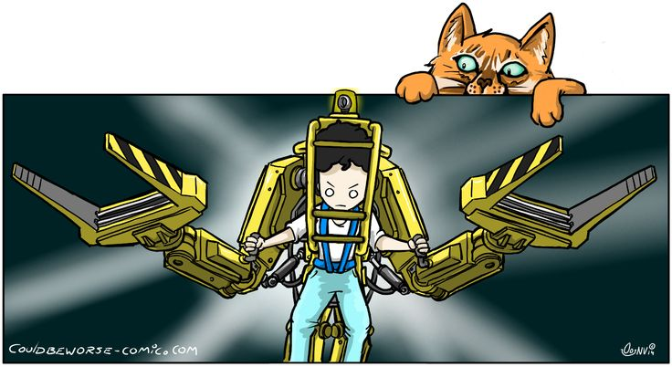 Ripley in a powerloader ready to fight the Xenomorph queen. Ship's cat Jones is watching.