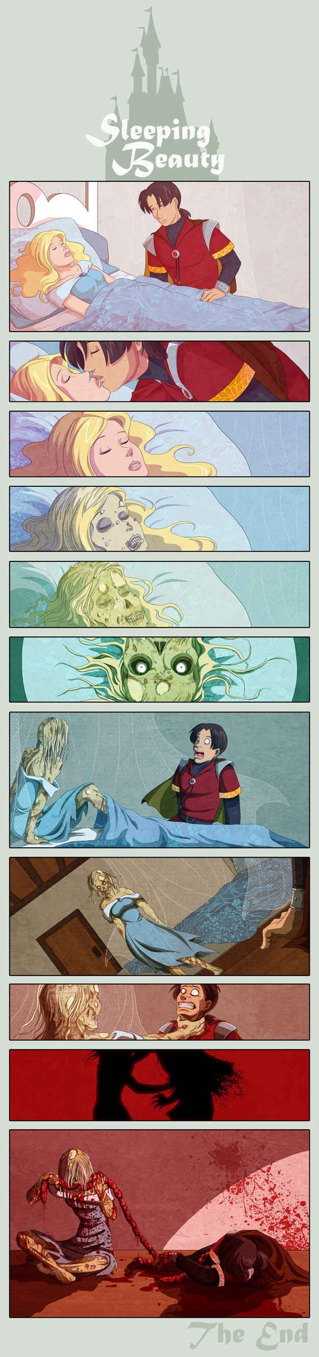 Once upon a time, in a land far away, there lived a Princess named Aurora...   Sleeping Beauty As A Zombie Will Destroy Your Childhood