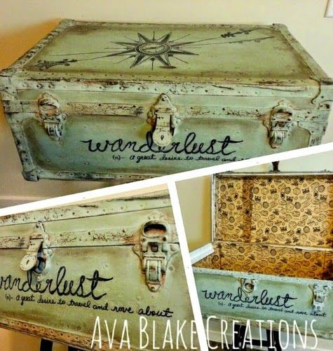 Travel Decor Ideas with Coastal Style Painted Suitcases and Trunks