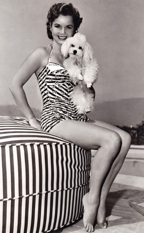 Debbie Reynolds <3 1950's. Great expression on the poodle's face.