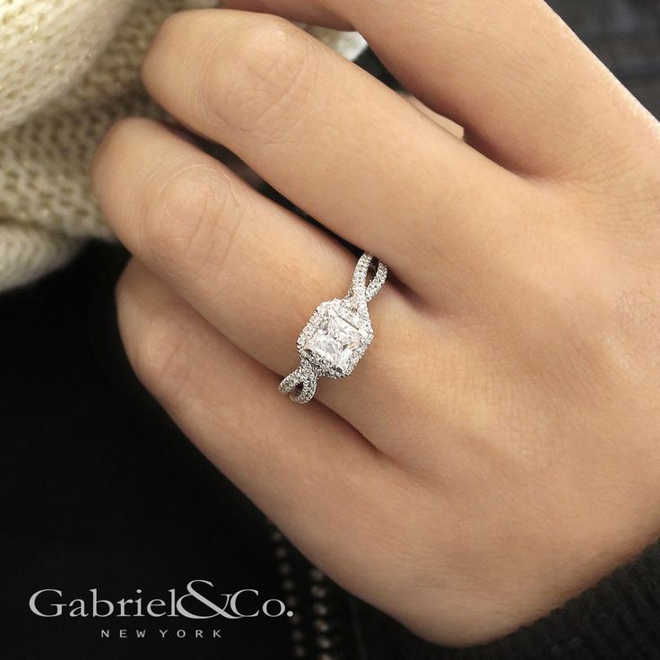 Gabriel & Co. - Voted #1 Most Preferred Fine Jewelry and Bridal Brand. Showcase your princess cut center stone in this exquisite engagement ring, featuring a softened square halo of pave diamond