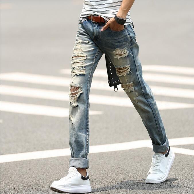 Distressed Jeans Men Torn Denim Pants Mens 2017 New <b>Fashion</b> ...