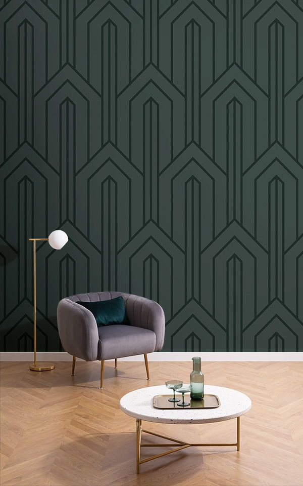 Dark Green Art Deco Wallpaper Geometric Lines Muralswallpaper In 2021 Art Deco Living Room Art Deco Interior Design Interior Deco