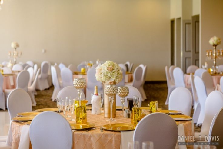 Wedding Reception with Ivory Spandex Chair Covers, Blush Linens & Gold Chargers in the Ballroom at Sugar Creek Country Club. #Wedding #ChairCovers #Gold #Blush