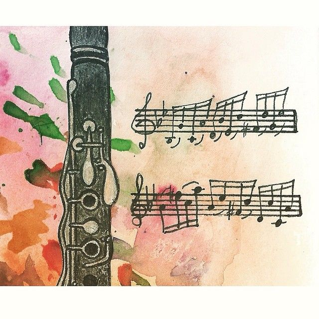 #рисунок #зарисовка #ноты #кларнет #музыкальныерисунки #музыкальные_рисунки #акварель #draw #drawing #painting #clarinet #sheetmusic #watercolor #watercolour by russian_clarinet